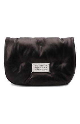 Женская сумка glam slam mini MAISON MARGIELA темно-коричневого цвета, арт. S56WG0181/P4300 | Фото 1 (Материал: Натуральная кожа; Размер: mini; Сумки-технические: Сумки через плечо; Ремень/цепочка: С цепочкой)