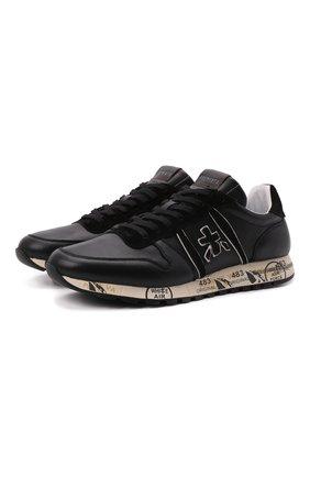 Мужские кожаные кроссовки eric PREMIATA черного цвета, арт. ERIC/VAR5370 | Фото 1 (Материал внутренний: Натуральная кожа; Стили: Гранж; Подошва: Массивная)