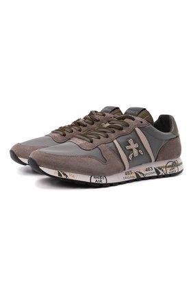 Мужские комбинированные кроссовки eric PREMIATA серого цвета, арт. ERIC/VAR5378 | Фото 1 (Материал внешний: Текстиль; Материал внутренний: Натуральная кожа; Стили: Гранж; Подошва: Массивная)