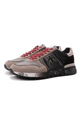 Мужские комбинированные кроссовки lander PREMIATA серого цвета, арт. LANDER/VAR5362 | Фото 1 (Подошва: Массивная; Материал внешний: Текстиль; Материал внутренний: Натуральная кожа; Стили: Гранж)