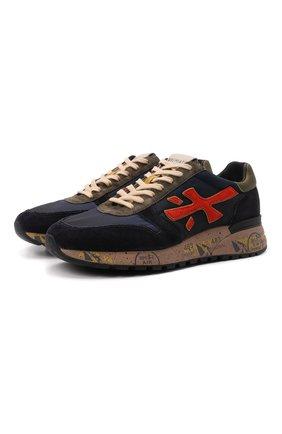 Мужские комбинированные кроссовки mick PREMIATA темно-синего цвета, арт. MICK/VAR5356 | Фото 1 (Материал внешний: Текстиль; Материал внутренний: Натуральная кожа; Стили: Гранж; Подошва: Массивная)