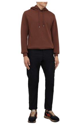 Мужские комбинированные кроссовки mick PREMIATA темно-синего цвета, арт. MICK/VAR5356 | Фото 2 (Материал внешний: Текстиль; Материал внутренний: Натуральная кожа; Стили: Гранж; Подошва: Массивная)