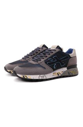 Мужские комбинированные кроссовки mick PREMIATA темно-синего цвета, арт. MICK/VAR5357 | Фото 1 (Материал внутренний: Натуральная кожа; Материал внешний: Текстиль; Стили: Гранж; Подошва: Массивная)