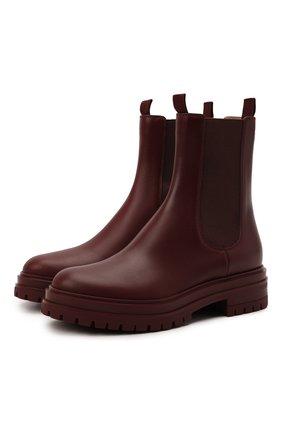 Женские кожаные ботинки GIANVITO ROSSI бордового цвета, арт. G73462.20G0M.CLNMERL | Фото 1 (Материал внутренний: Натуральная кожа; Женское Кросс-КТ: Челси-ботинки; Каблук высота: Низкий; Подошва: Платформа)