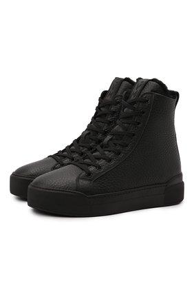 Мужские кожаные кеды VIC MATIE черного цвета, арт. 1W3003U.V02W280101 | Фото 1 (Материал утеплителя: Натуральный мех; Подошва: Массивная)
