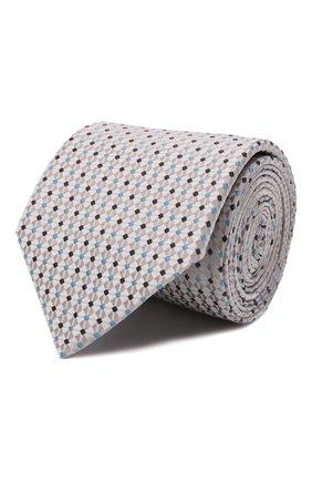 Мужской шелковый галстук ETON светло-серого цвета, арт. A000 33081   Фото 1 (Материал: Шелк, Текстиль; Принт: С принтом)
