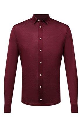 Мужская хлопковая рубашка ETON бордового цвета, арт. 1000 03099 | Фото 1 (Рукава: Длинные; Длина (для топов): Стандартные; Материал внешний: Хлопок; Случай: Повседневный; Принт: Однотонные; Рубашки М: Slim Fit; Манжеты: На пуговицах; Воротник: Кент; Стили: Кэжуэл)