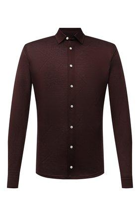 Мужская хлопковая рубашка ETON коричневого цвета, арт. 1000 03099 | Фото 1 (Материал внешний: Хлопок; Длина (для топов): Стандартные; Рукава: Длинные; Случай: Повседневный; Принт: Однотонные; Рубашки М: Slim Fit; Манжеты: На пуговицах; Воротник: Кент; Стили: Кэжуэл)