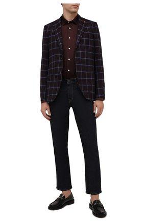 Мужская хлопковая рубашка ETON коричневого цвета, арт. 1000 03099 | Фото 2 (Материал внешний: Хлопок; Длина (для топов): Стандартные; Рукава: Длинные; Случай: Повседневный; Принт: Однотонные; Рубашки М: Slim Fit; Манжеты: На пуговицах; Воротник: Кент; Стили: Кэжуэл)