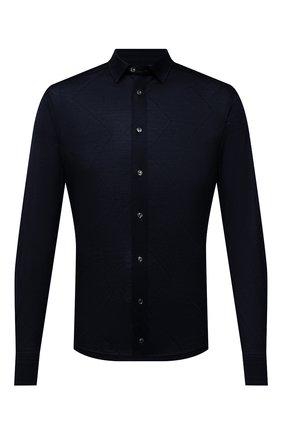Мужская хлопковая рубашка ETON темно-синего цвета, арт. 1000 03099 | Фото 1 (Материал внешний: Хлопок; Длина (для топов): Стандартные; Рукава: Длинные; Случай: Повседневный; Принт: Однотонные; Рубашки М: Slim Fit; Манжеты: На пуговицах; Воротник: Кент; Стили: Кэжуэл)