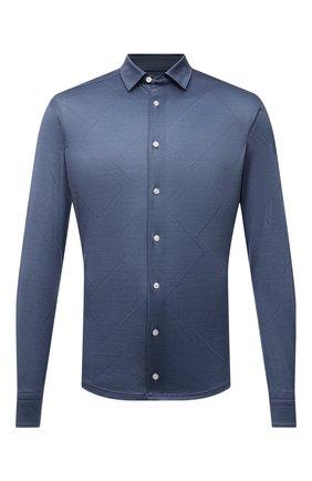 Мужская хлопковая рубашка ETON голубого цвета, арт. 1000 03099 | Фото 1 (Материал внешний: Хлопок; Рукава: Длинные; Длина (для топов): Стандартные; Случай: Повседневный; Принт: Однотонные; Рубашки М: Slim Fit; Манжеты: На пуговицах; Воротник: Кент; Стили: Кэжуэл)