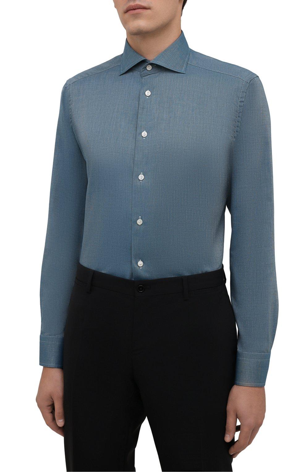 Мужская хлопковая сорочка ETON зеленого цвета, арт. 1000 03089 | Фото 3 (Манжеты: На пуговицах; Рукава: Длинные; Воротник: Акула; Длина (для топов): Стандартные; Рубашки М: Slim Fit; Материал внешний: Хлопок; Стили: Классический; Случай: Формальный; Принт: Однотонные)