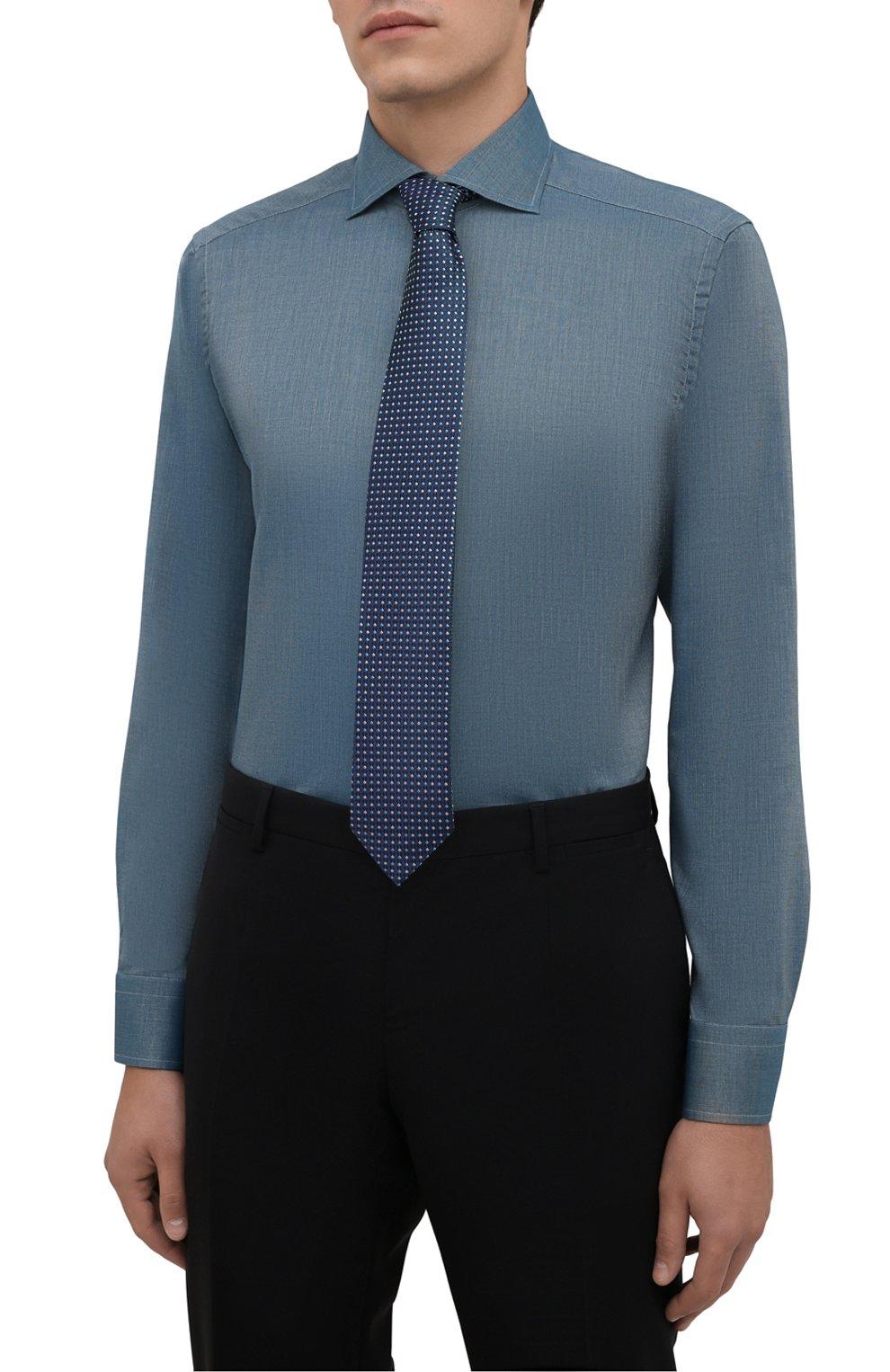 Мужская хлопковая сорочка ETON зеленого цвета, арт. 1000 03089 | Фото 4 (Манжеты: На пуговицах; Рукава: Длинные; Воротник: Акула; Длина (для топов): Стандартные; Рубашки М: Slim Fit; Материал внешний: Хлопок; Стили: Классический; Случай: Формальный; Принт: Однотонные)