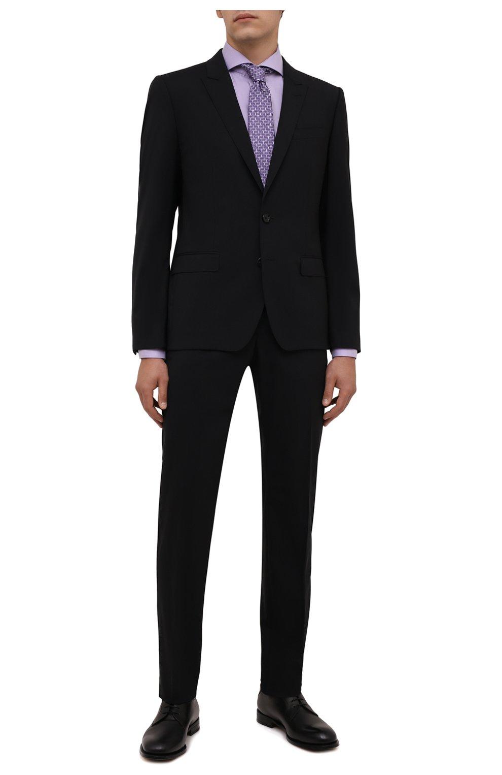 Мужская хлопковая сорочка ETON сиреневого цвета, арт. 1000 02608 | Фото 2 (Манжеты: На пуговицах; Рукава: Длинные; Воротник: Акула; Длина (для топов): Стандартные; Рубашки М: Slim Fit; Материал внешний: Хлопок; Стили: Классический; Случай: Формальный; Принт: Однотонные)