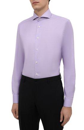 Мужская хлопковая сорочка ETON сиреневого цвета, арт. 1000 02608 | Фото 3 (Манжеты: На пуговицах; Рукава: Длинные; Воротник: Акула; Длина (для топов): Стандартные; Рубашки М: Slim Fit; Материал внешний: Хлопок; Стили: Классический; Случай: Формальный; Принт: Однотонные)
