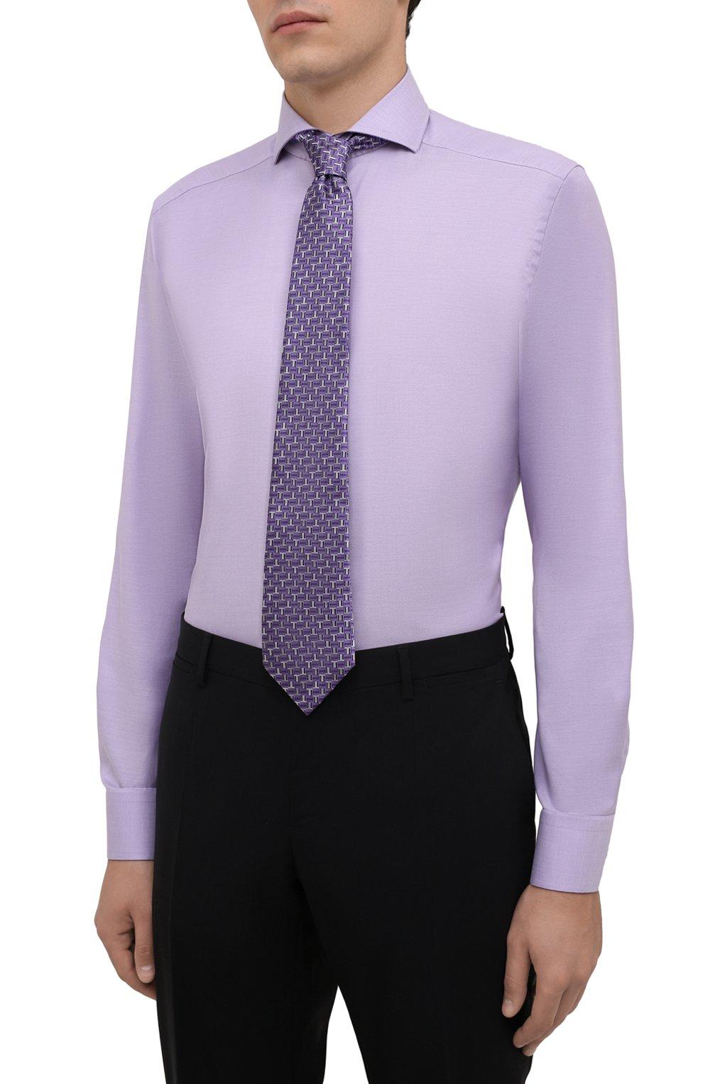 Мужская хлопковая сорочка ETON сиреневого цвета, арт. 1000 02608 | Фото 4 (Манжеты: На пуговицах; Рукава: Длинные; Воротник: Акула; Длина (для топов): Стандартные; Рубашки М: Slim Fit; Материал внешний: Хлопок; Стили: Классический; Случай: Формальный; Принт: Однотонные)
