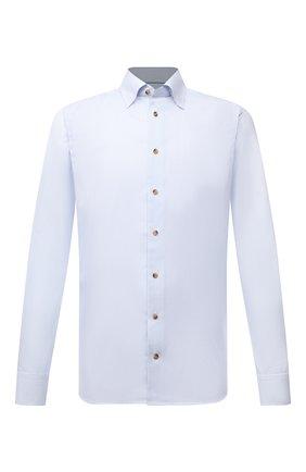 Мужская хлопковая сорочка ETON голубого цвета, арт. 1000 02560 | Фото 1 (Материал внешний: Хлопок; Рукава: Длинные; Длина (для топов): Стандартные; Случай: Формальный; Принт: Однотонные; Рубашки М: Regular Fit; Манжеты: На пуговицах; Воротник: Кент; Стили: Классический)