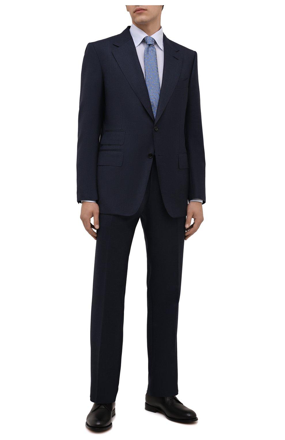 Мужская хлопковая сорочка ETON голубого цвета, арт. 1000 02560   Фото 2 (Манжеты: На пуговицах; Воротник: Кент; Рукава: Длинные; Рубашки М: Regular Fit; Длина (для топов): Стандартные; Материал внешний: Хлопок; Стили: Классический; Случай: Формальный; Принт: Однотонные)
