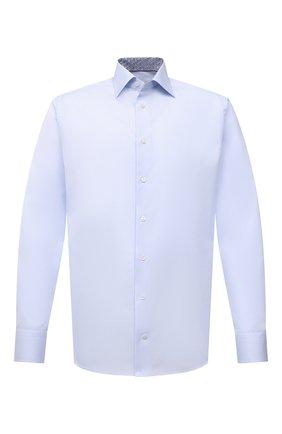 Мужская хлопковая сорочка ETON голубого цвета, арт. 1000 02464 | Фото 1 (Материал внешний: Хлопок; Рукава: Длинные; Длина (для топов): Стандартные; Случай: Формальный; Принт: Однотонные; Рубашки М: Slim Fit; Манжеты: На пуговицах; Воротник: Акула; Стили: Классический)