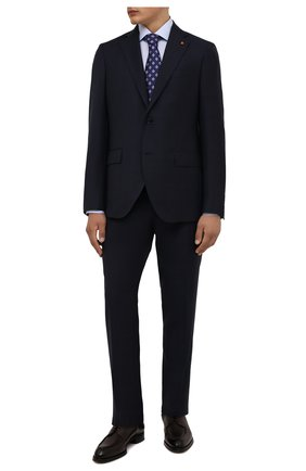 Мужская хлопковая сорочка ETON голубого цвета, арт. 1000 02464 | Фото 2 (Материал внешний: Хлопок; Рукава: Длинные; Длина (для топов): Стандартные; Случай: Формальный; Принт: Однотонные; Рубашки М: Slim Fit; Манжеты: На пуговицах; Воротник: Акула; Стили: Классический)