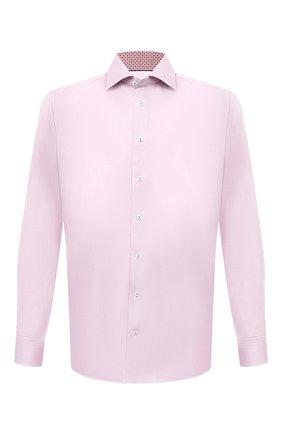 Мужская хлопковая сорочка ETON светло-розового цвета, арт. 1000 02446 | Фото 1 (Материал внешний: Хлопок; Рукава: Длинные; Длина (для топов): Стандартные; Случай: Формальный; Принт: Однотонные; Рубашки М: Regular Fit; Манжеты: На пуговицах; Воротник: Акула; Стили: Классический)