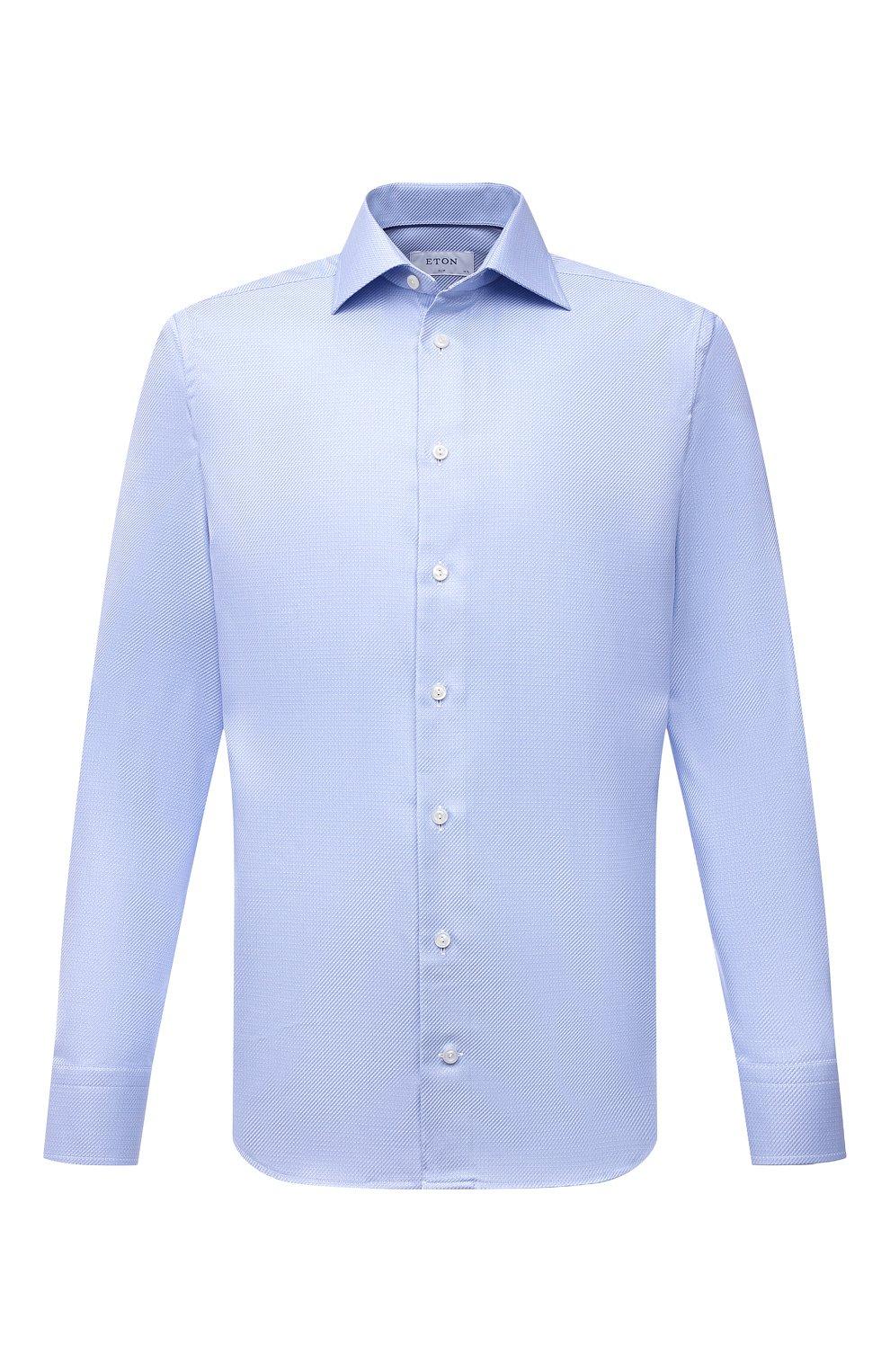 Мужская хлопковая сорочка ETON голубого цвета, арт. 1000 01700   Фото 1 (Манжеты: На пуговицах; Рукава: Длинные; Воротник: Акула; Длина (для топов): Стандартные; Рубашки М: Slim Fit; Материал внешний: Хлопок; Стили: Классический; Случай: Формальный; Принт: Однотонные)