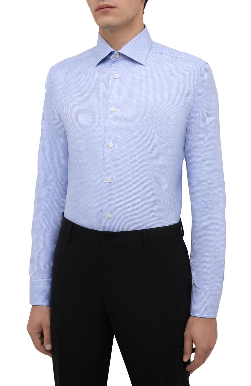 Мужская хлопковая сорочка ETON голубого цвета, арт. 1000 01700   Фото 3 (Манжеты: На пуговицах; Рукава: Длинные; Воротник: Акула; Длина (для топов): Стандартные; Рубашки М: Slim Fit; Материал внешний: Хлопок; Стили: Классический; Случай: Формальный; Принт: Однотонные)