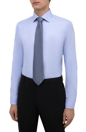 Мужская хлопковая сорочка ETON голубого цвета, арт. 1000 01700   Фото 4 (Манжеты: На пуговицах; Рукава: Длинные; Воротник: Акула; Длина (для топов): Стандартные; Рубашки М: Slim Fit; Материал внешний: Хлопок; Стили: Классический; Случай: Формальный; Принт: Однотонные)