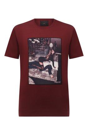 Мужская хлопковая футболка LIMITATO бордового цвета, арт. FILM TIME/T-SHIRT | Фото 1 (Материал внешний: Хлопок; Рукава: Короткие; Принт: С принтом; Длина (для топов): Стандартные)