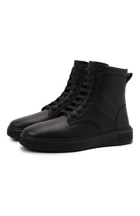 Мужские кожаные кеды mevys BALLY черного цвета, арт. MEVYS/00 | Фото 1 (Материал внутренний: Натуральная кожа, Текстиль; Подошва: Массивная)