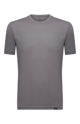 Мужская шерстяная футболка CAPOBIANCO серого цвета, арт. 11M660.JE00. | Фото 1 (Длина (для топов): Стандартные; Рукава: Короткие; Материал внешний: Шерсть; Принт: Без принта; Стили: Кэжуэл)