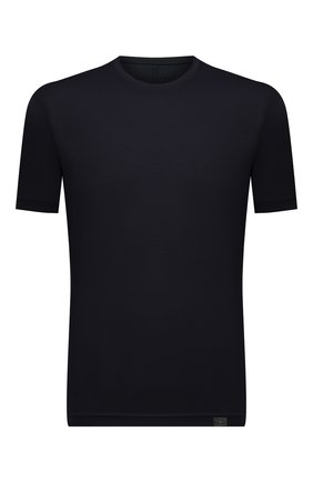Мужская шерстяная футболка CAPOBIANCO темно-синего цвета, арт. 11M660.JE00.   Фото 1 (Материал внешний: Шерсть; Рукава: Короткие; Принт: Без принта; Длина (для топов): Стандартные; Стили: Кэжуэл)