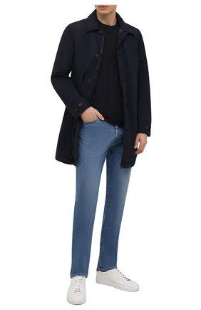 Мужская шерстяная футболка CAPOBIANCO темно-синего цвета, арт. 11M660.JE00.   Фото 2 (Материал внешний: Шерсть; Рукава: Короткие; Принт: Без принта; Длина (для топов): Стандартные; Стили: Кэжуэл)