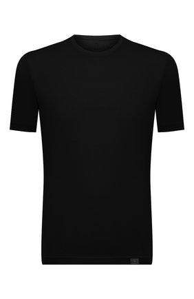 Мужская футболка из хлопка и кашемира CAPOBIANCO черного цвета, арт. 11M660.WS00.   Фото 1 (Материал внешний: Хлопок; Рукава: Короткие; Принт: Без принта; Длина (для топов): Стандартные; Стили: Кэжуэл)