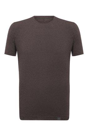 Мужская футболка из хлопка и кашемира CAPOBIANCO коричневого цвета, арт. 11M660.WS00.   Фото 1 (Материал внешний: Хлопок; Рукава: Короткие; Принт: Без принта; Длина (для топов): Стандартные)
