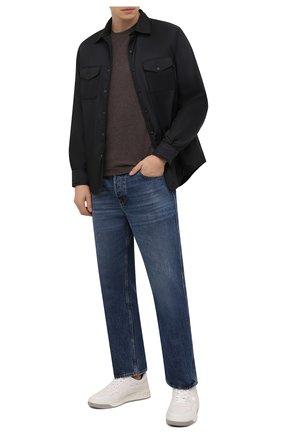 Мужская футболка из хлопка и кашемира CAPOBIANCO коричневого цвета, арт. 11M660.WS00.   Фото 2 (Материал внешний: Хлопок; Рукава: Короткие; Принт: Без принта; Длина (для топов): Стандартные)