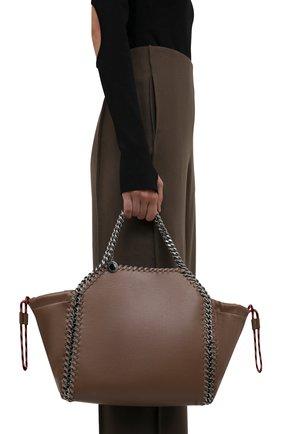 Женская сумка falabella medium STELLA MCCARTNEY коричневого цвета, арт. 700231/W8836 | Фото 2 (Материал: Текстиль, Экокожа; Сумки-технические: Сумки через плечо, Сумки top-handle; Ремень/цепочка: На ремешке; Размер: medium; Ошибки технического описания: Нет ширины)