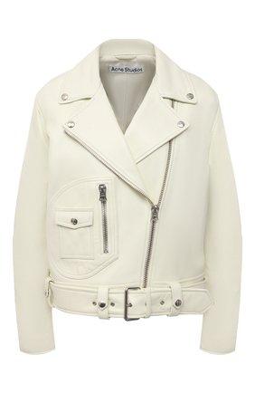 Женская кожаная куртка ACNE STUDIOS кремвого цвета, арт. A70066   Фото 1 (Материал подклада: Вискоза; Кросс-КТ: Куртка; Женское Кросс-КТ: Замша и кожа; Стили: Кэжуэл; Рукава: Длинные; Длина (верхняя одежда): Короткие)