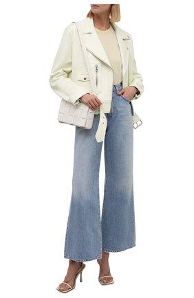 Женская кожаная куртка ACNE STUDIOS кремвого цвета, арт. A70066   Фото 2 (Материал подклада: Вискоза; Кросс-КТ: Куртка; Женское Кросс-КТ: Замша и кожа; Стили: Кэжуэл; Рукава: Длинные; Длина (верхняя одежда): Короткие)