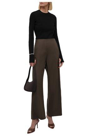 Женские шерстяные брюки ACNE STUDIOS коричневого цвета, арт. AK0409   Фото 2 (Длина (брюки, джинсы): Стандартные; Материал внешний: Шерсть; Женское Кросс-КТ: Брюки-одежда; Случай: Формальный; Силуэт Ж (брюки и джинсы): Широкие; Стили: Классический)