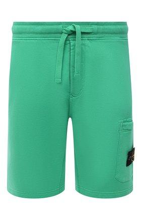 Мужские хлопковые шорты STONE ISLAND зеленого цвета, арт. 751564620 | Фото 1 (Материал внешний: Хлопок; Кросс-КТ: Спорт; Принт: Без принта; Длина Шорты М: До колена)
