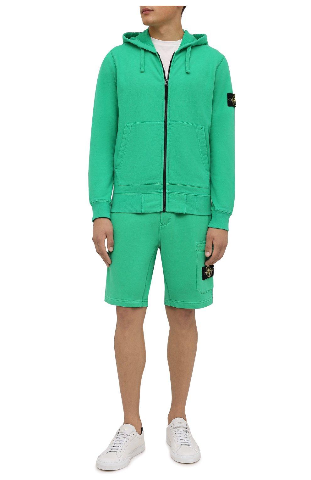 Мужские хлопковые шорты STONE ISLAND зеленого цвета, арт. 751564620 | Фото 2 (Длина Шорты М: До колена; Принт: Без принта; Кросс-КТ: Спорт; Материал внешний: Хлопок; Стили: Спорт-шик)