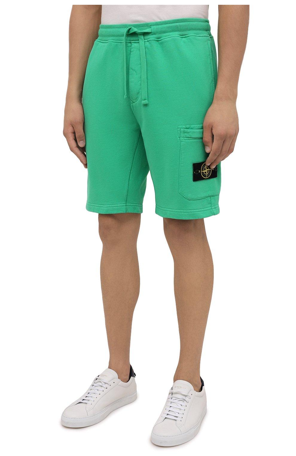 Мужские хлопковые шорты STONE ISLAND зеленого цвета, арт. 751564620 | Фото 3 (Длина Шорты М: До колена; Принт: Без принта; Кросс-КТ: Спорт; Материал внешний: Хлопок; Стили: Спорт-шик)