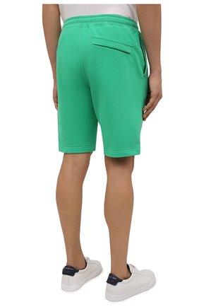 Мужские хлопковые шорты STONE ISLAND зеленого цвета, арт. 751564620 | Фото 4 (Длина Шорты М: До колена; Принт: Без принта; Кросс-КТ: Спорт; Материал внешний: Хлопок; Стили: Спорт-шик)