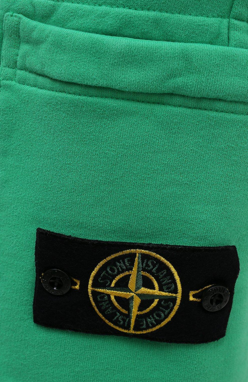 Мужские хлопковые шорты STONE ISLAND зеленого цвета, арт. 751564620 | Фото 5 (Длина Шорты М: До колена; Принт: Без принта; Кросс-КТ: Спорт; Материал внешний: Хлопок; Стили: Спорт-шик)