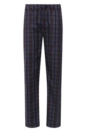 Мужские хлопковые домашние брюки HANRO синего цвета, арт. 075436 | Фото 1 (Материал внешний: Хлопок; Кросс-КТ: домашняя одежда; Длина (брюки, джинсы): Стандартные)