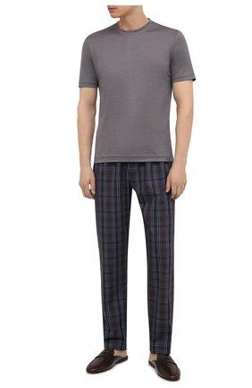 Мужские хлопковые домашние брюки HANRO синего цвета, арт. 075436 | Фото 2 (Материал внешний: Хлопок; Кросс-КТ: домашняя одежда; Длина (брюки, джинсы): Стандартные)