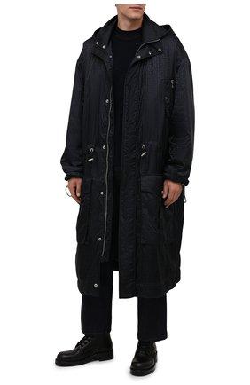 Мужская парка BALMAIN черного цвета, арт. WH1TJ031/X167   Фото 2 (Материал внешний: Синтетический материал; Рукава: Длинные; Материал подклада: Синтетический материал; Длина (верхняя одежда): Длинные; Кросс-КТ: Куртка; Стили: Кэжуэл)