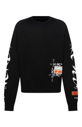 Мужской хлопковый свитшот HERON PRESTON черного цвета, арт. HMBA016F21JER0051001 | Фото 1 (Материал внешний: Хлопок; Рукава: Длинные; Длина (для топов): Стандартные; Мужское Кросс-КТ: свитшот-одежда; Принт: С принтом; Стили: Спорт-шик)