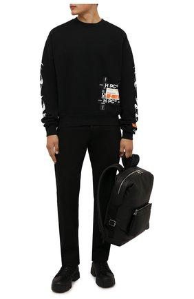 Мужской хлопковый свитшот HERON PRESTON черного цвета, арт. HMBA016F21JER0051001 | Фото 2 (Материал внешний: Хлопок; Рукава: Длинные; Длина (для топов): Стандартные; Мужское Кросс-КТ: свитшот-одежда; Принт: С принтом; Стили: Спорт-шик)